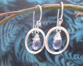 Iolite drop earrings sterling silver  square wire