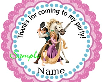 Tangled Personalized Stickers, Party Favor Tags, Thank You Tags, Gift Tags, Birthday, Baby Shower