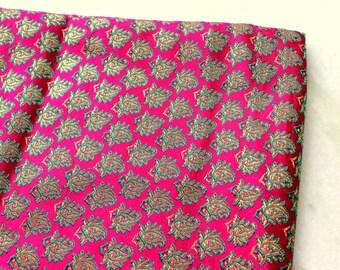 Fuchsia Silk Brocade Fabric Fat Quarter India