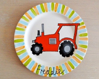 Tractor gift ideas - Tractor birthday theme - Personalised tractor plate - Tractor birthday present - Tractor theme party - Red tractor