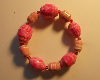 Pink Paper Bead Bracelet