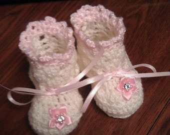 Hand Crocheted Baby Booties Newborn