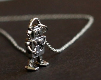 cute tiny robot necklace, silver robot necklace, kids gift, black friday SALE