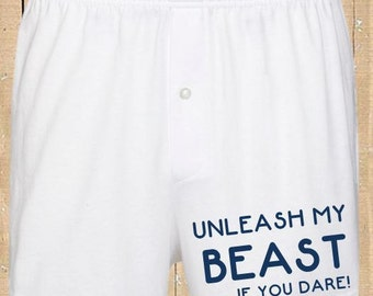 Personalised Men's Boxer Shorts Unleash The Beast Funny Boxer shorts Mens Underwear Valentines Gift