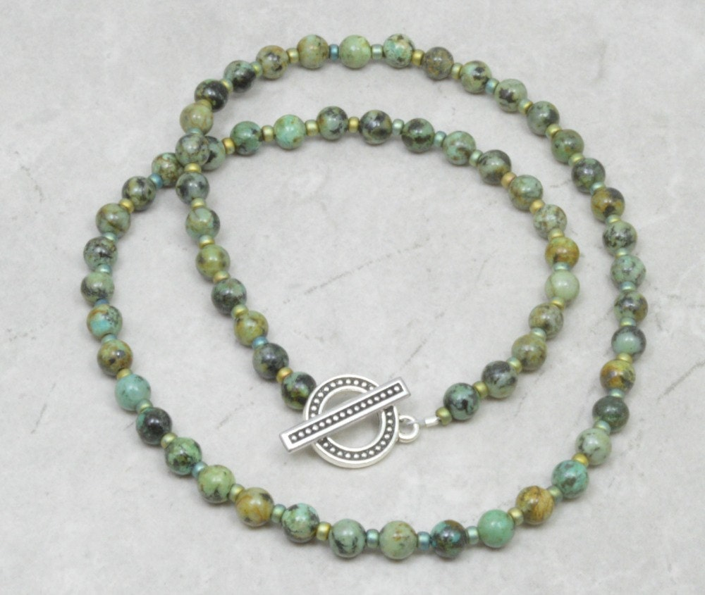 African Turquoise Necklace Handmade Jewelry Beaded