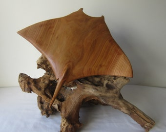 Hand carved wood sculpture of a Manta Ray mounted on driftwood - Wooden carving