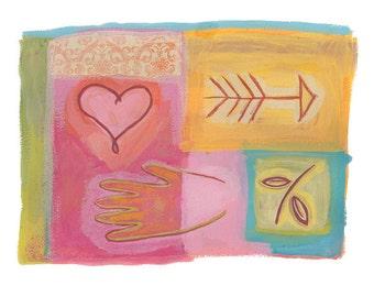 Hand & Heart Art Print, Symbolic Art, Whimsical Art Painting