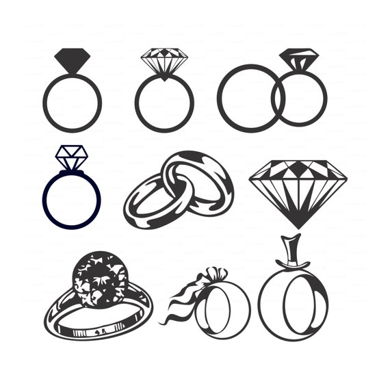 Wedding Diamond rings svg dxf ai eps png Vectors bridal