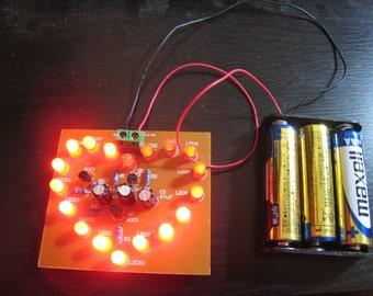 Heart shaped LED flash light DIY electronic kit