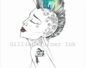 Tattooed Pinup Girl with Mohawk Watercolour Print superb quality