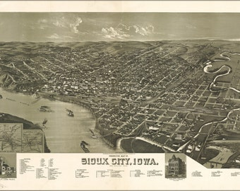 24x36 Poster; Perspective Map Of Sioux City, Iowa. 1888