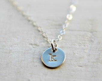 Tiny Sterling Silver Disc Necklace, Initial Charm Jewelry, Dainty Delicate Letter Necklace, Small Simple Everyday Layering Necklace