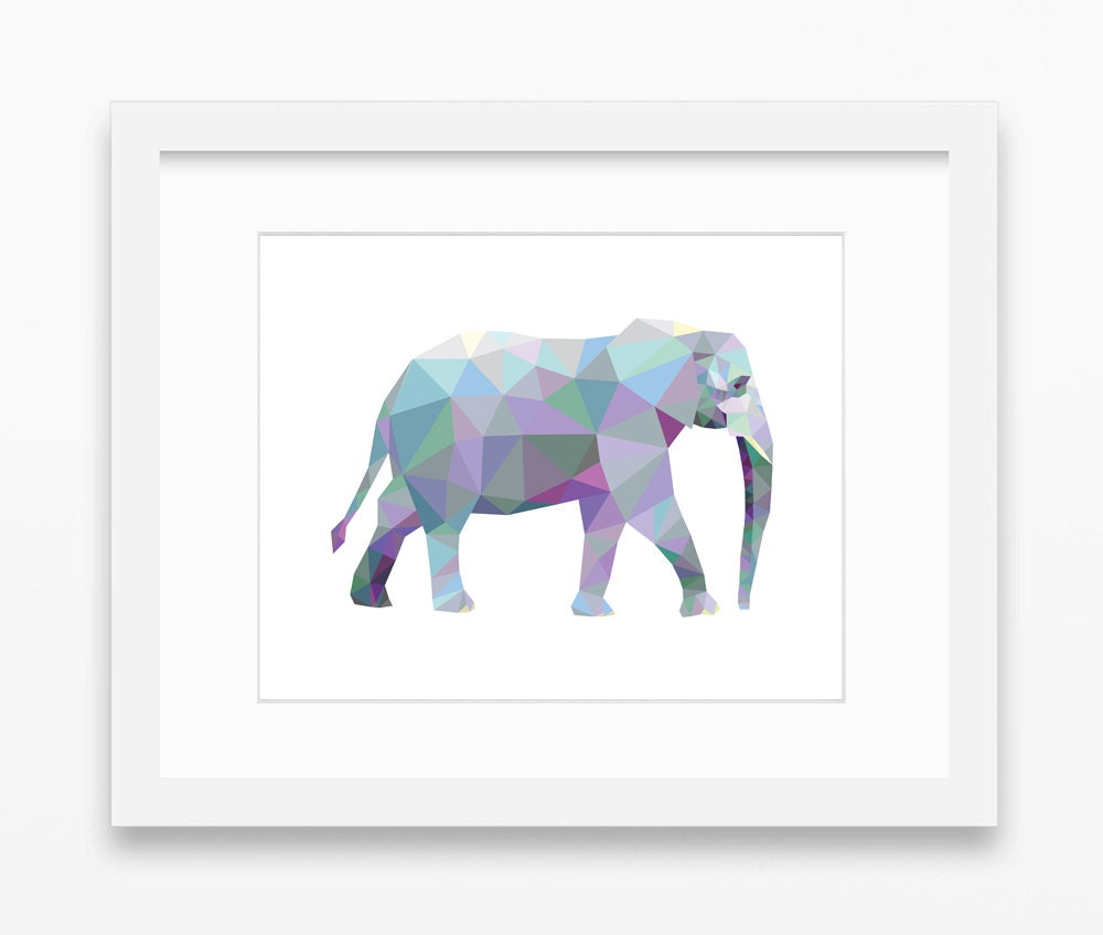 Elephant print elephant art elephant wall art geometric for Elephant wall art