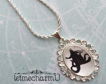 Ursula Glass Cameo Necklace - Ursula Necklace - Ursula Silhouette - The Little Mermaid Necklace - The Little Mermaid Pendant