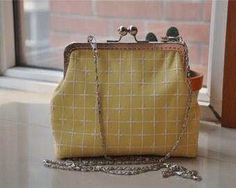 Yellow Check Pattern Handbag Vintage Handmade Shoulder Bag Free Shipping