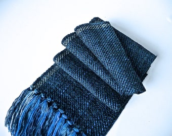 Handwoven Soft Chenille/ Blue Twill Scarf
