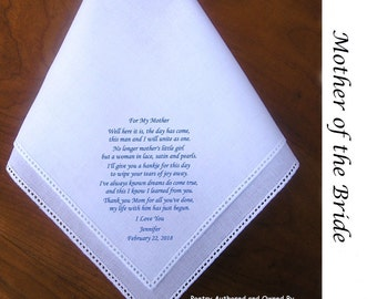 Mother of the Bride Gift Hankie From Bride 0104 Sign and Date for Free!   5 Wedding Handkerchief Styles and 8 Ink Colors.