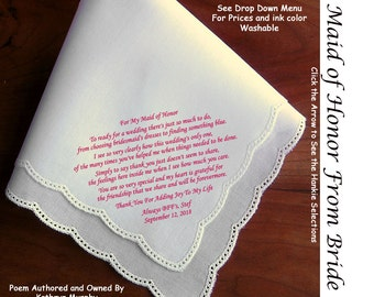 Maid of Honor Gift Handkerchief  0902~ 5 Wedding Hankie Styles ~ Sign & Date for Free! 8 Ink Colors ~ Maid of Honor Hankerchief