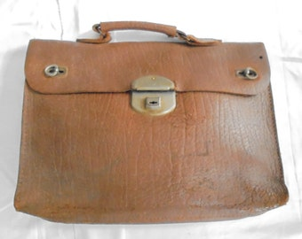 Vintage French leather school bag/years 50-60/travel bag/