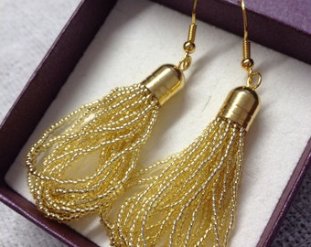 Tufted Earring: Dangling earrings with fine conteries.