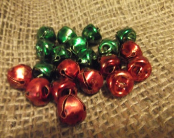 Primitive Red and Green Small Bells/Christmas/Craft Supply