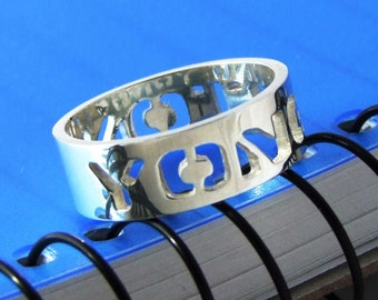 Sterling 925 Silver Name Ring  Cut Out -  Any Name Can Be Made in Any Language
