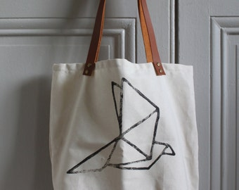 Tote Bag Phileas - Origami printed by hand, cotton and leather handles, screen printed by eco-friendly water based ink