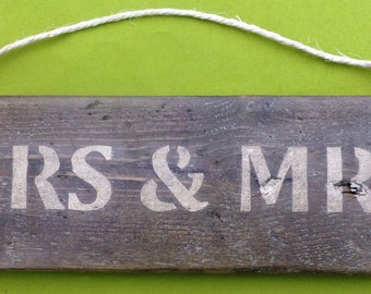 Mrs & Mrs hanging sign made from recycled wood
