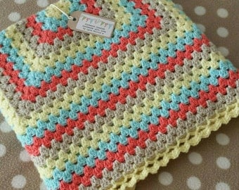 Crochet Granny Square Baby Blanket-Summer Breeze-Made To Order