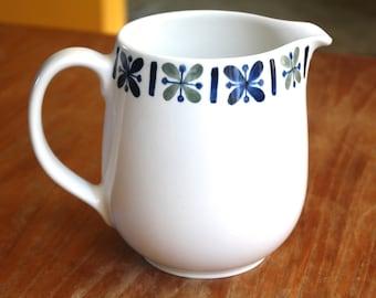 Vintage Arabia made in Finland Katrilli ceramic pitcher with indigo blue sage green Kaj Franck Raija Uosikkenen