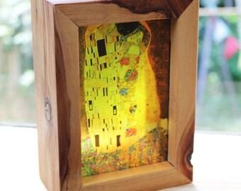 Gustav Klimt The Kiss Translucent Handmade Lightbox! See-through art that glows in natural light