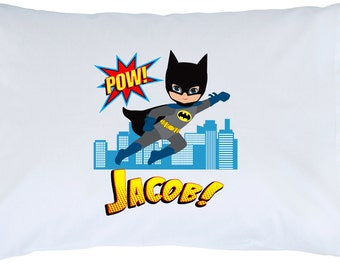 Personalized Super Hero Standard Pillowcase - Batman Flying