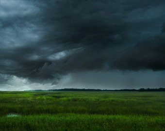 Stormy Sky Over the Marsh, Landscape photography, Large wall art