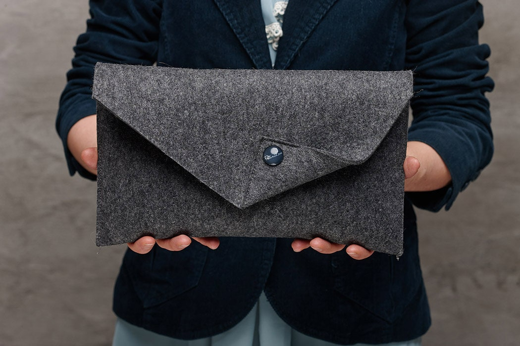 Dark grey Merino wool felt clutch bag grey large felt clutch