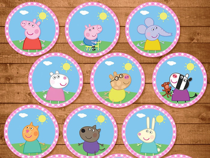 12 Peppa Pig Cupcake Toppers Pink Plaid by NineLivesNotEnough