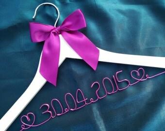 Date hanger Personalized Wedding Hanger, bridesmaid gifts, name hanger, brides hanger bride gift,bride hanger for wedding dress