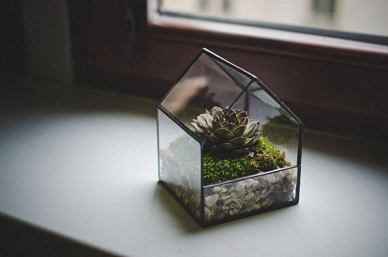 Glass Terrarium Small House Stained Glass Decoration Home