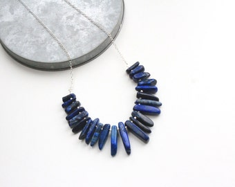 Lapis lazuli necklace - sterling silver
