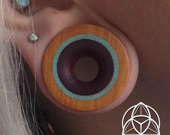 Osage Orange Double Flared Eyelets with Purpleheart and Turquoise inlays