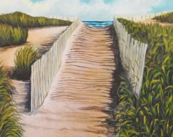 Path to the Beach - Original Framed Acrylic Painting!