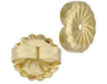 1 Pair 9.35MM Solid 14k Yellow Gold Swirl Push Back Friction Post Nut Backing Replacement For Eearrings