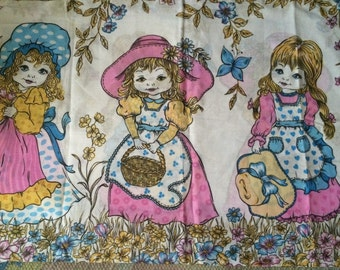 1960's vintage kitch retro pillow slip cover dolls ideal crafts or bedding