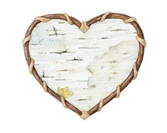 Birch Bark - Botanical Hearts series  - Archival print of my colored pencil drawing