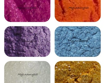 6 Mica Colors 1 gram Sample Pack Fuchsia Purple Orange Blue White & Yellow Pigment Powders for Soap and Cosmetic making