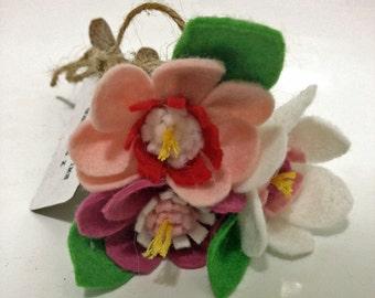 A set of 3 felt cherry blossom wooden twig pencils - 'It's Springtime Somewhere'