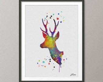 deer Watercolor deer painting illustration deer Art Print Wall Gift Poster Giclee Wall Decor  deer Art Home Decor Wall Hanging A035
