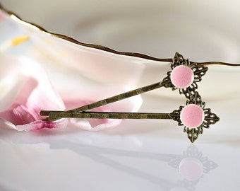 Pink hair pin Pastel pink gifts for girls Pink flower Baby pink bobby pin set Pink hair accessories pink flower Vintage style Boho Hippie