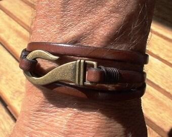 Men's leather bracelet,men's wrap Bracelet,  brown leather bracelet,  bronze bracelet, MEN JEWELERY, Bracelet for Him ,personalized jewelry