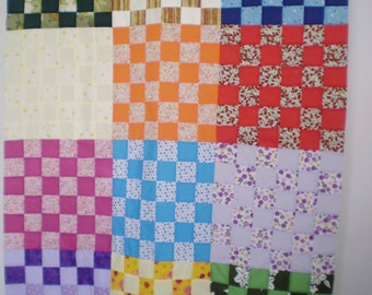 "400+ squares quilt top approximately 36"" x 48"" (92 x 123 cms),"
