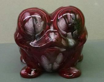 Raspberry Ice Cute Frog Planter--Hand-Painted--Glazed Ceramic Bisque--Home-Patio-Garden Decor--Seasonal-Year Round Usage